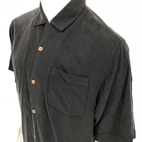 9976e8be323bb4 Tommy Bahama Tiki Palms Black Button Down Shirt